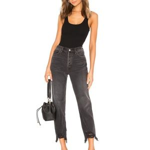 Free People Black Chewed Up Midrise Straight Jeans